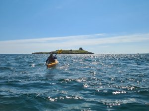 Yvonne Gordon kayaking to Dalkey Island